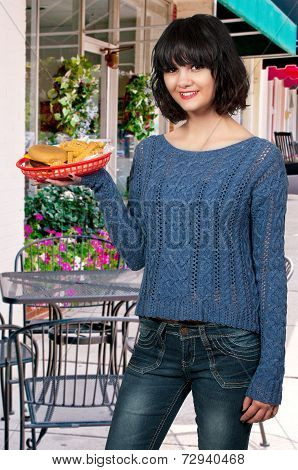 Woman Serving Lunch