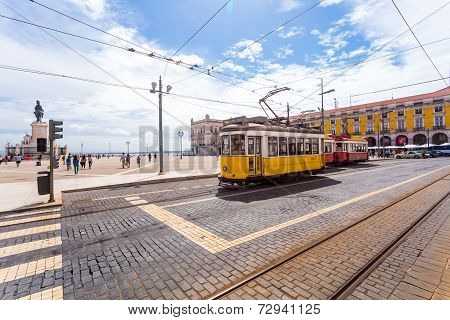 Yellow Sightseeing Tram In Lisbon
