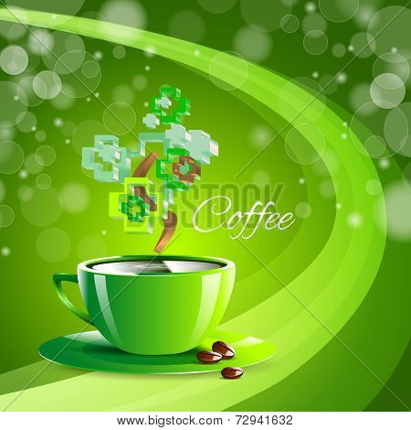 Coffee Drink Green Cup Beverage Background