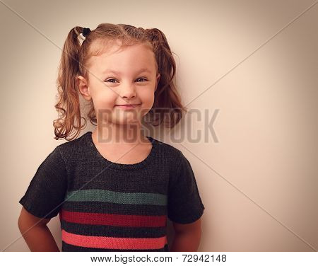 Happy Grimacing Kid Girl Looking Oo Empty Space Background