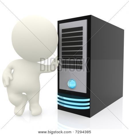 3D Man With Computer Server