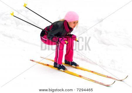 Young Woman On Ski