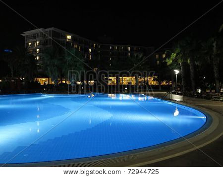 Luxury Resort With Beautiful Pool And Illumination Night View