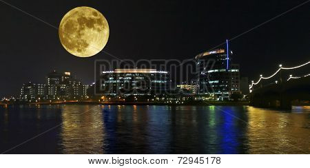 A Hayden Ferry Lakeside Full Moon View, Tempe