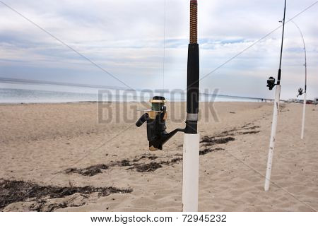 Fishing poles on Cape Cod