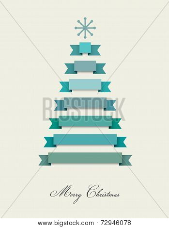 Stylized flat Christmas tree. Ribbons decoration. Vector background.