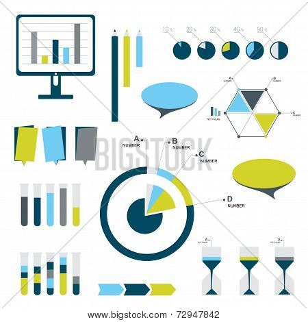 Flat infographic set of charts, bubbles, diagrams. vector editable elements.
