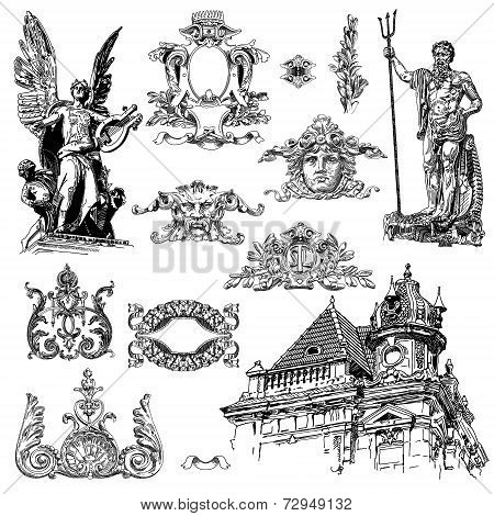 vintage sketch calligraphic drawing of heraldic design element