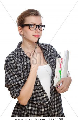 Blonde Student Girl With Books And A Pencil, Isolated On White