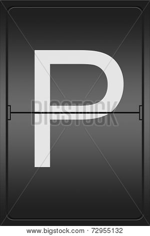 Letter P On A Mechanical Leter Indicator