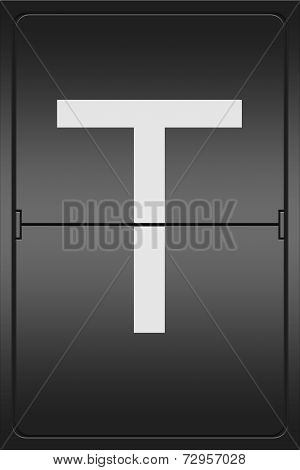 Letter T On A Mechanical Leter Indicator