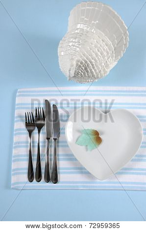 Happy Thanksgiving Dining Table Place Setting In Modern Elegant Pale Blue And White Setting With Hea