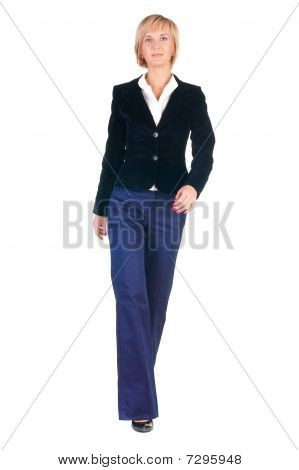 Young Attractive Blonde Businesswoman Walking.