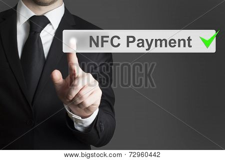 Businessman Pushing Button Nfc Payment