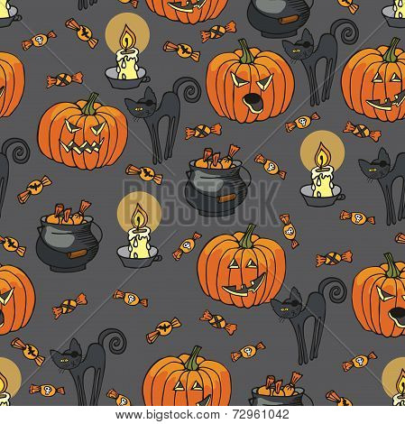 Halloween seamless pattern.Pumpkin,cat,candle,boiler, candy