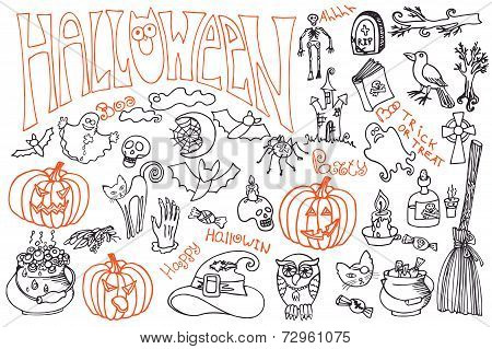 Halloween icons set with text.Doodles sketchy