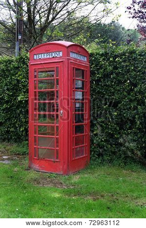 Red British telephone box.