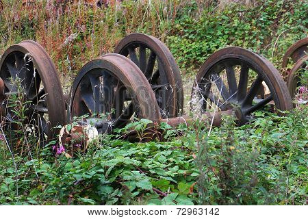 Rusting railway wheels.
