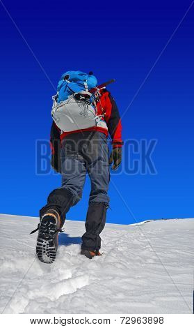 Trekker With A Backpack On Snow
