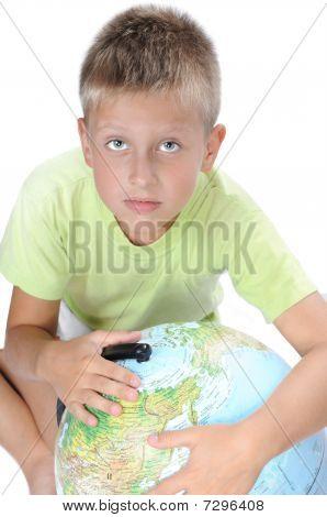 Boys Pointing On World Globe