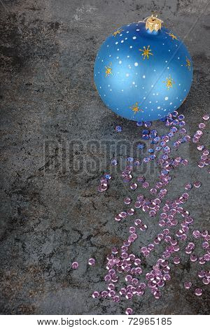 Christmas decorations - blue ball and sequins