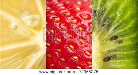 Macro photo of fruits texture, Close up of a strawberry, Lemon, Kiwi fruit