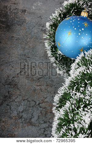 Christmas decorations - ball and spruce tinsel