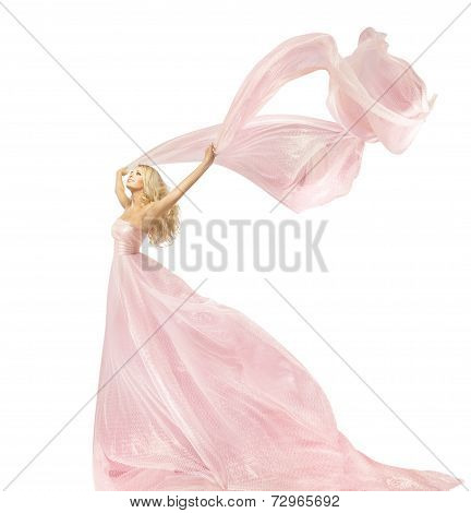 Woman Beauty Fashion Dress, Girl In Silk Gown Waving On Wind Fabric, Model With Long Flying