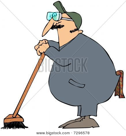 Janitor Leaning On A Broom