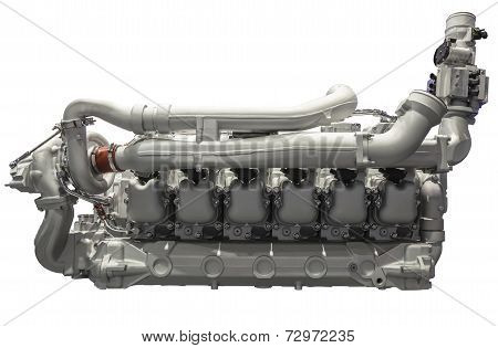 Modern Six Cylinder Diesel Engine