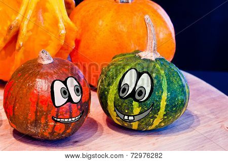 Pumpkins For Halloween With Funny Friends Who Play With Ghosts - Trick Or Treat