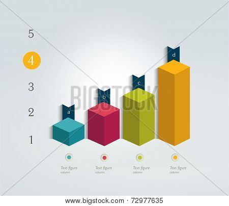 Chart for infographic. Cube column chart.