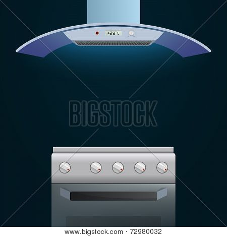 Modern oven and extractor on a dark background