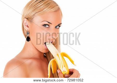 beautiful blond woman sexy eats banana