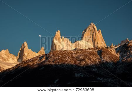 Sunrise Over Fitz Roy Mountain Range, Argentina