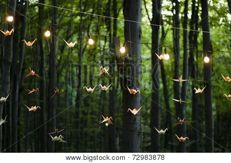 origami cranes in the wood