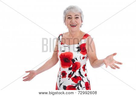 Portrait of happy senior woman in summer dress