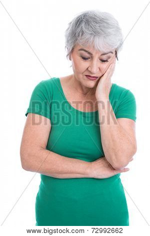 Senior woman feeling toothache or thinking about her sad life.