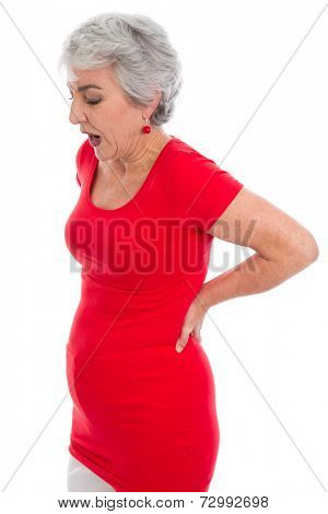 Senior woman feeling ache in her back