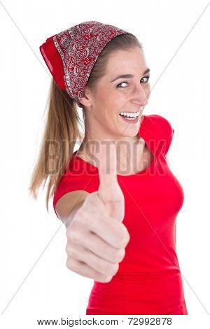 Young woman in red with thumbs up isolated over white.