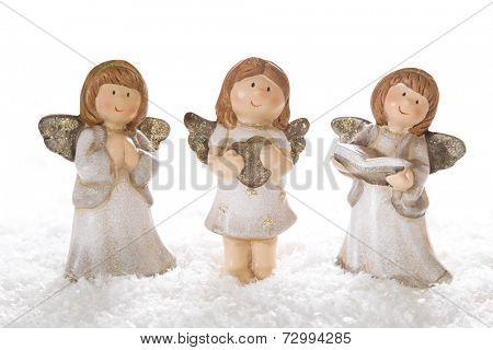Decoration of three gypsum angel for christmas