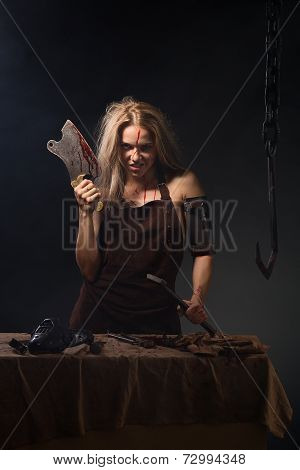 maniac woman with a knife in his hand