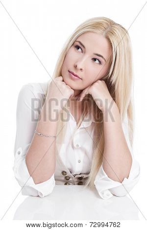 Caucasian blond women thoughtful and elbowing