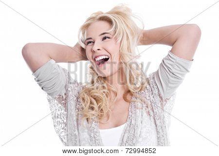 Caucasian woman touching her nape
