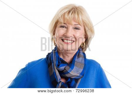 Happy isolated mature woman on white background