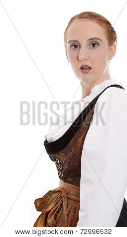 Amended Loser view of a young woman in dirndl