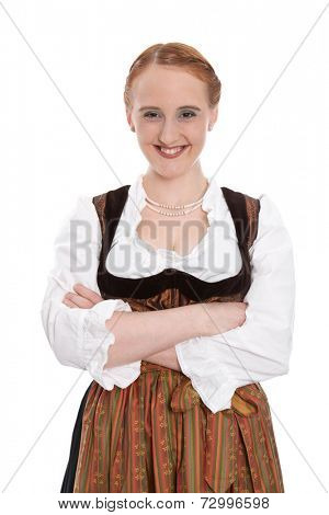 Funny bavarian girl isolated in dirndl