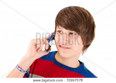 Teenager boy making phonecall