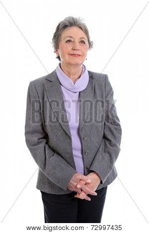 Portrait of an elderly female person isolated over white background.