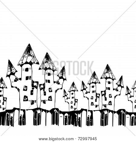seamless pattern with scary houses for halloween